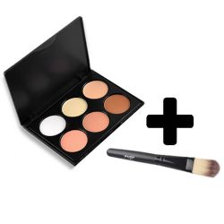 DRM 6-delige Cream Concealer Palette met Gratis Powder Brush