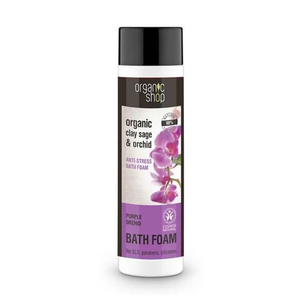 Afbeelding van Organic Shop Anti-Stress Bath Foam Purple Orchid 500ml.