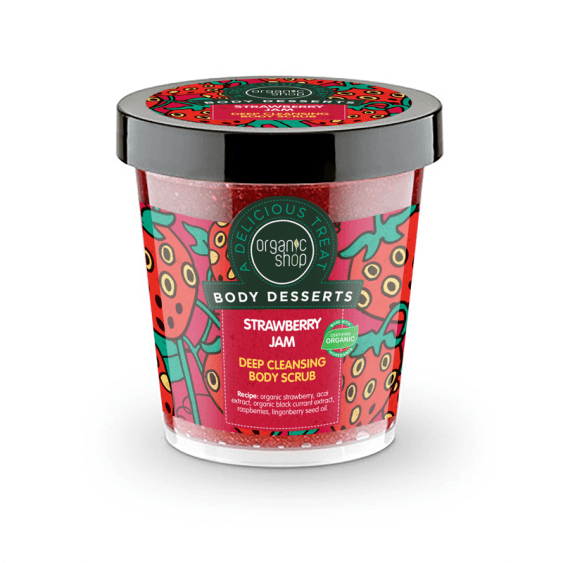 Afbeelding van Organic Shop Body Desserts Strawberry Jam Deep Cleansing Body Scrub 450ml.