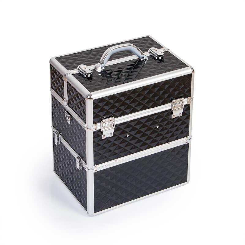 Afbeelding van Cosmetics Zone Cosmetica Koffer Diamant Zwart XXL