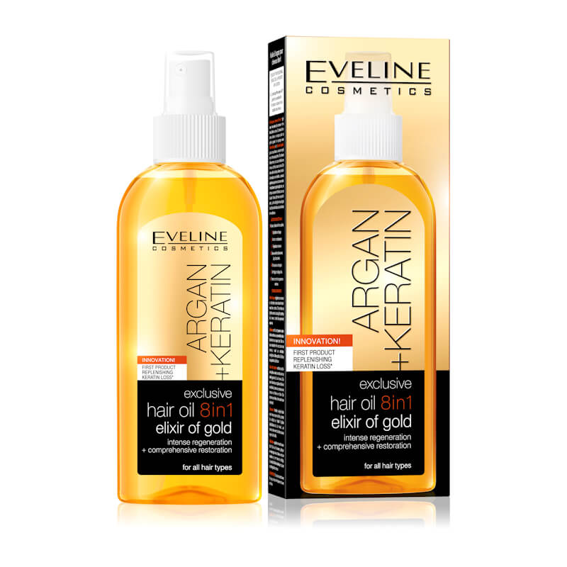 Afbeelding van Eveline Cosmetics Argan + Keratin Exclusive Hair Oil 8in1 Elixir Of Gold 150ml.