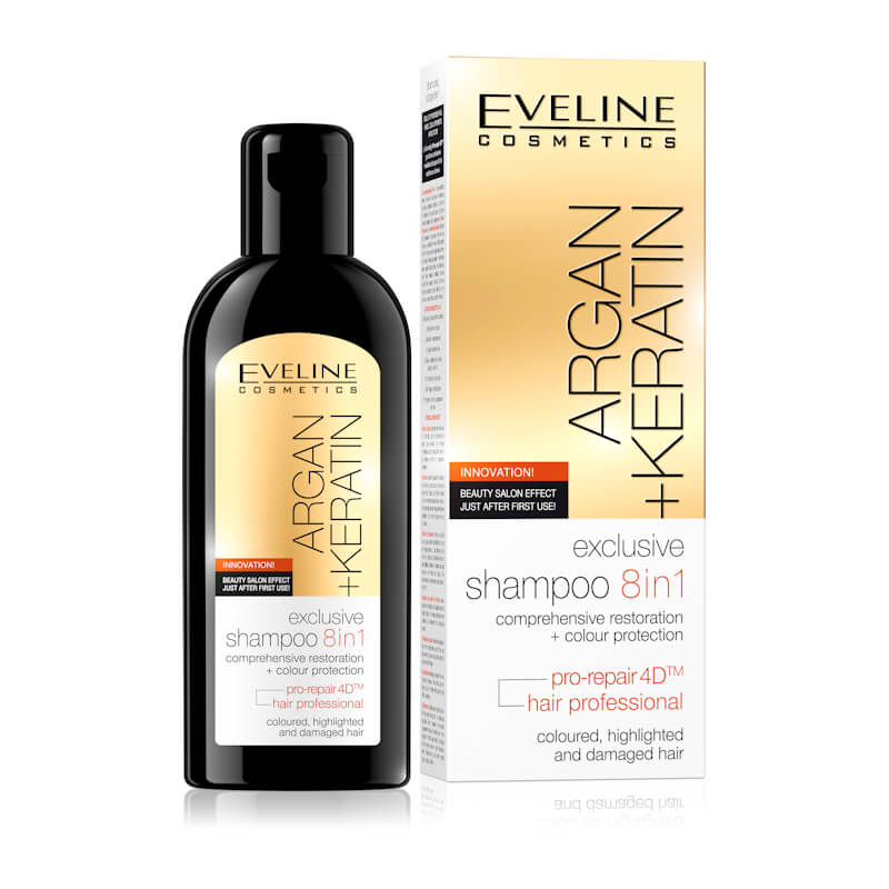 Afbeelding van Eveline Cosmetics Argan + Keratin Exclusive Shampoo 8in1 - 150ml.