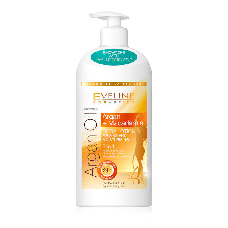Afbeelding van Eveline Cosmetics Argan Oil Macadamia Firming & Moisturizing Body Lotion 3in1 350ml.