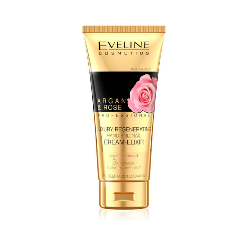 Afbeelding van Eveline Cosmetics Argan & Rose Professional Luxury Regenerating Hand & Nail Cream Elixir 100ml.