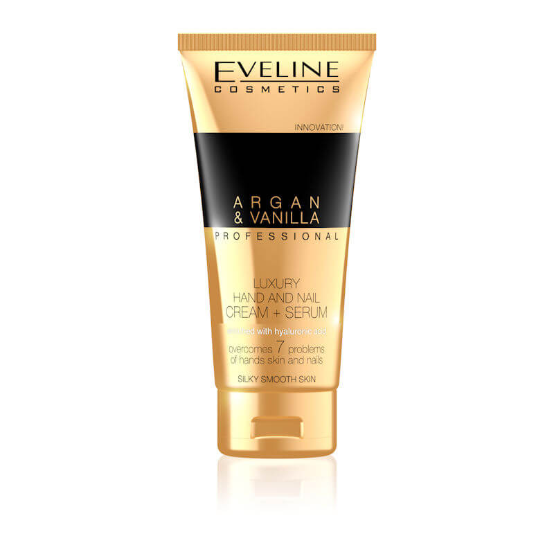 Afbeelding van Eveline Cosmetics Argan & Vanilla Professional Luxury Hand & Nail Cream Serum 100ml.