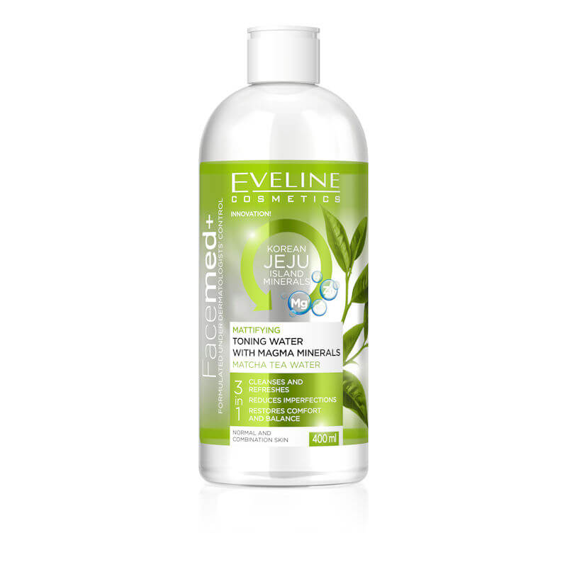 Afbeelding van Eveline Cosmetics Facemed+ Mattifying Toning Water With Magma Minerals 3 in 1 - 400ml.