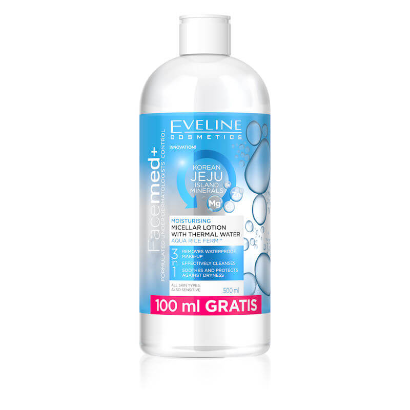 Afbeelding van Eveline Cosmetics Facemed+ Moisturising Micellar Lotion With Thermal Water 500ml.