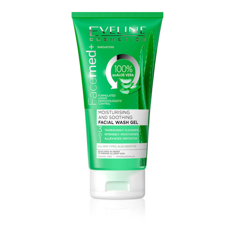 Afbeelding van Eveline Cosmetics Facemed+ Moisturising And Soothing Facial Wash Gel With Aloe Vera 3 in 1 - 150ml.
