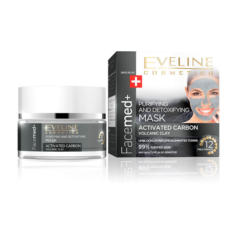 Afbeelding van Eveline Cosmetics Facemed+ Purifying & Detoxifying Mask Activated Carbon and Volcanic Clay 50ml.