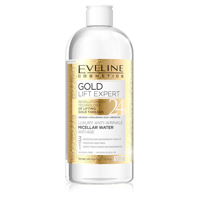 Afbeelding van Eveline Cosmetics Gold Lift Expert Luxury Anti Wrinkle Micellar Water Anti Age 3in1 500ml.