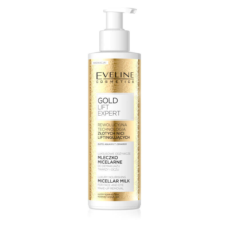 Afbeelding van Eveline Cosmetics Gold Lift Expert Luxury Nourishing Micellar Milk For Face & Eye Make Up Removal 200ml.