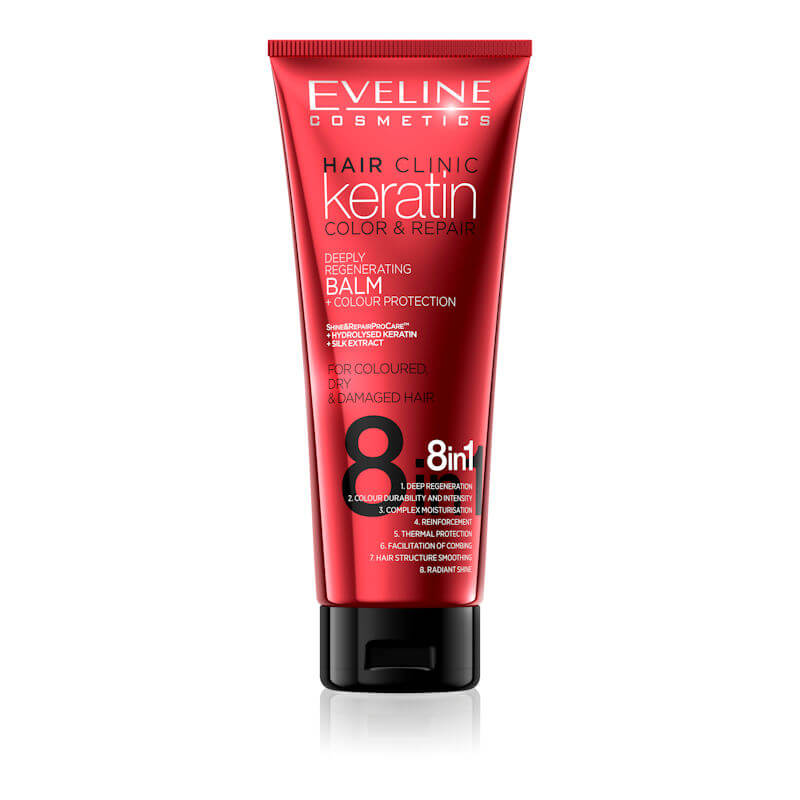 Afbeelding van Eveline Cosmetics Keratin Color & Repair Balm Colour Protection 8in1 - 250ml.