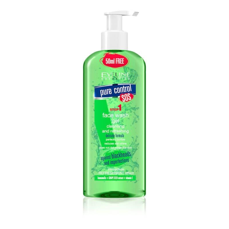 Afbeelding van Eveline Cosmetics Pure Control SOS Face Wash Gel Cleansing & Refreshing 200ml.