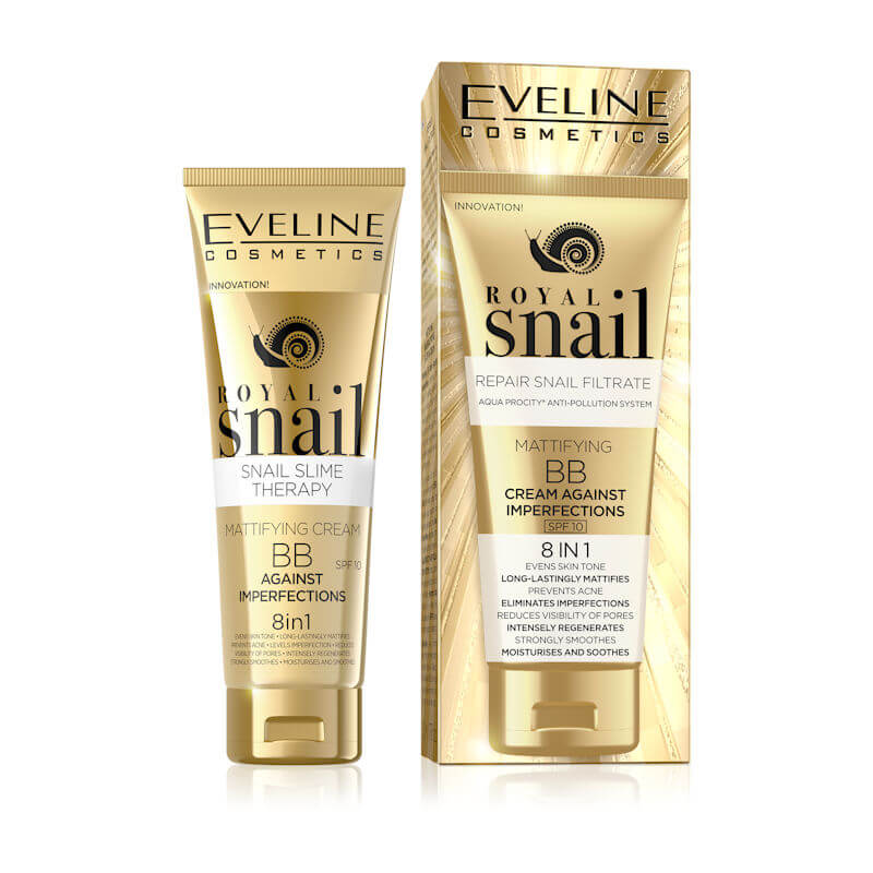 Afbeelding van Eveline Cosmetics Royal Snail Mattifying BB Cream Against Imperfections 8in1 SPF10 - 50ml.