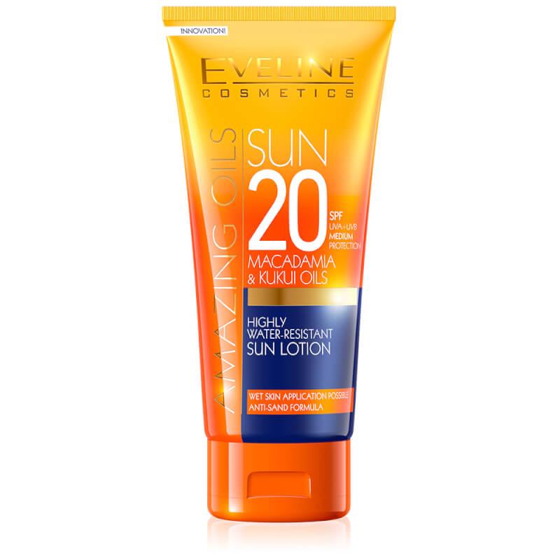 Afbeelding van Eveline Cosmetics Amazing Oils Highly Water-resistant Sun Lotion SPF20 - 200ml.