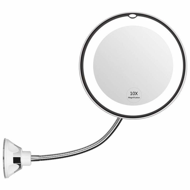 Afbeelding van Dermarolling Flexibele Make-up Spiegel - 10x zoom Inclusief LED Verlichting