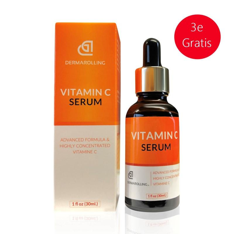 Afbeelding van 3 x Dermarolling Vitamine c serum 30ml.