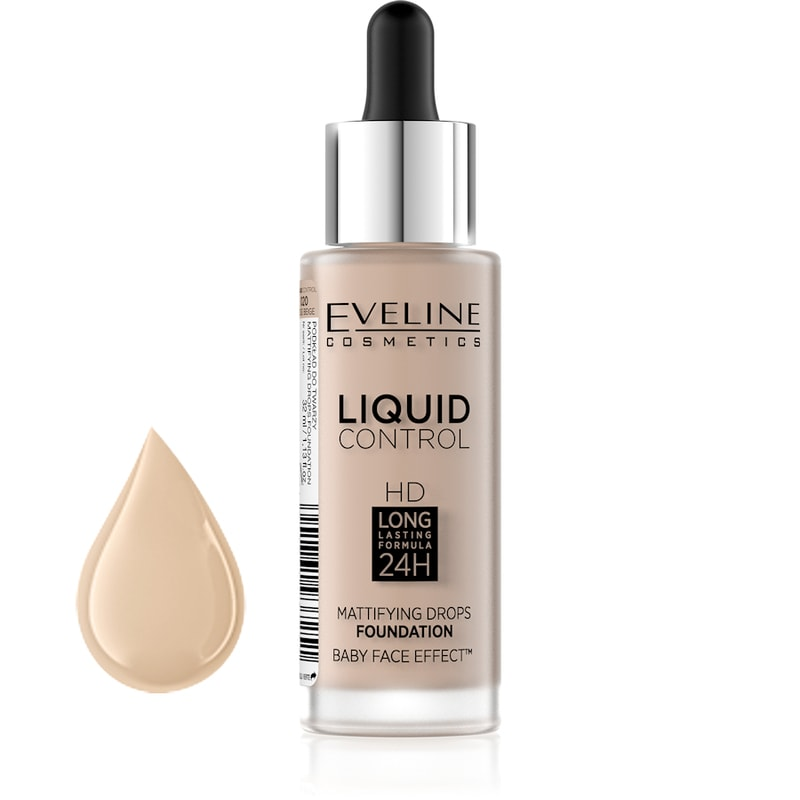 Afbeelding van Eveline Cosmetics Liquid Control Foundation With Dropper 020 Rose Beige 32ml.