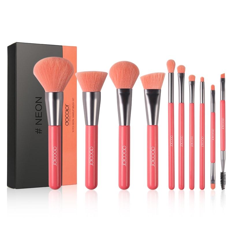 Afbeelding van Dermarolling 10-Delige Roze Make Up Kwasten Set N1003