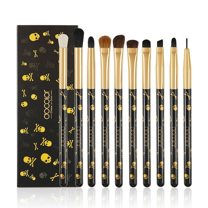 Afbeelding van Dermarolling 10-Delige Zwart & Gele Make Up Kwasten Set P1005