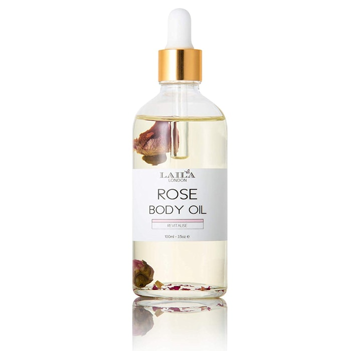 Afbeelding van Laila London Rose Otto Body Oil With Marula & Real Rose Buds 100ml.