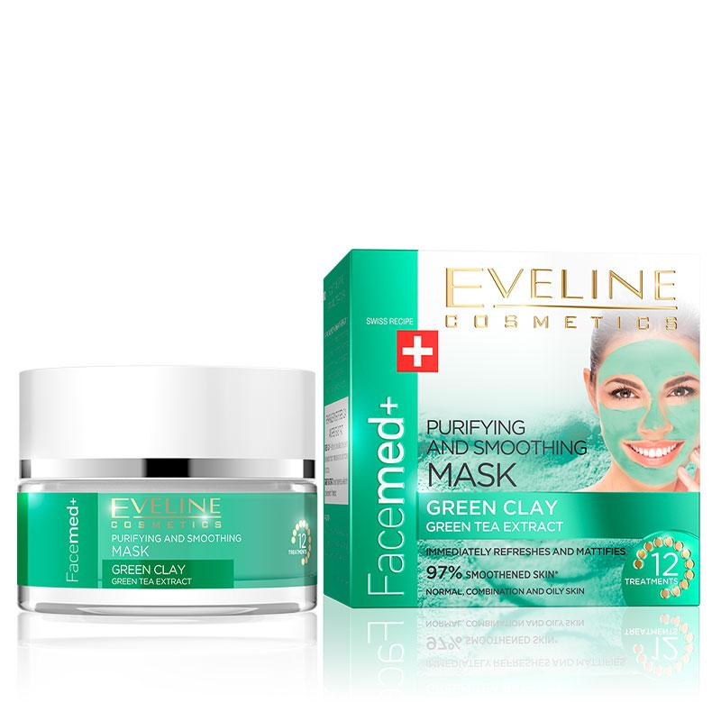 Afbeelding van Eveline Cosmetics Facemed Purifying And Smoothing Mask Green Clay 50ml.