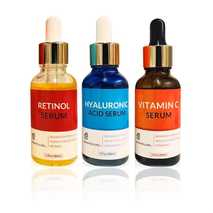 Afbeelding van Dermarolling Serum Kit Compleet -Vitamine C, Retinol & Hyaluronzuur Serum