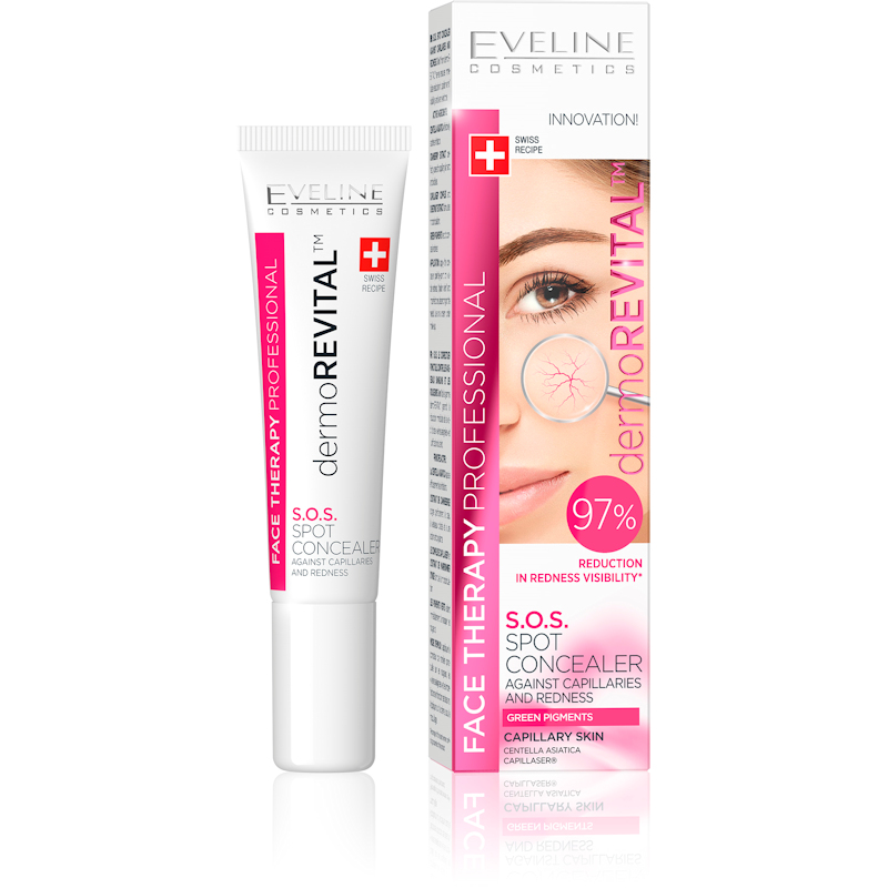 Afbeelding van Eveline Cosmetics Face Therapy Dermorevital S.O.S. Spot Concealer Against Capillaries & Redness 15ml.