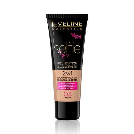 Afbeelding van Eveline Cosmetics Selfie Time Foundation & Concealer 03 Vanilla 30ml.