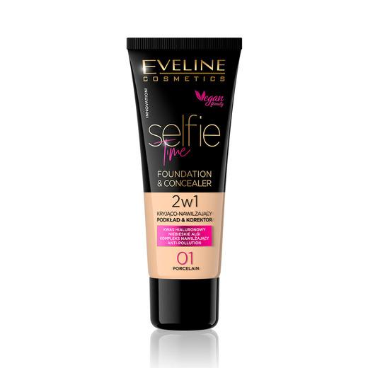 Afbeelding van Eveline Cosmetics Selfie Time Foundation & Concealer 01 Porcelain 30ml.
