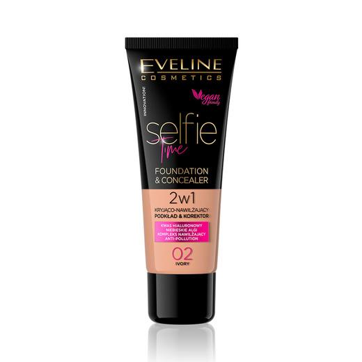 Afbeelding van Eveline Cosmetics Selfie Time Foundation & Concealer 02 Ivory 30ml.
