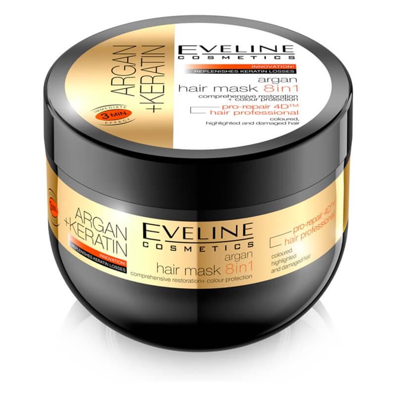 Afbeelding van Eveline Cosmetics Argan Keratin Hair Mask 8in1 300ml.