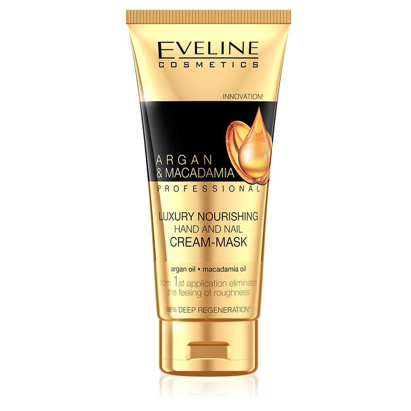 Afbeelding van Eveline Cosmetics Argan & Macadamia Professional Luxury Nourishing Hand And Nail Cream-mask 100ml.