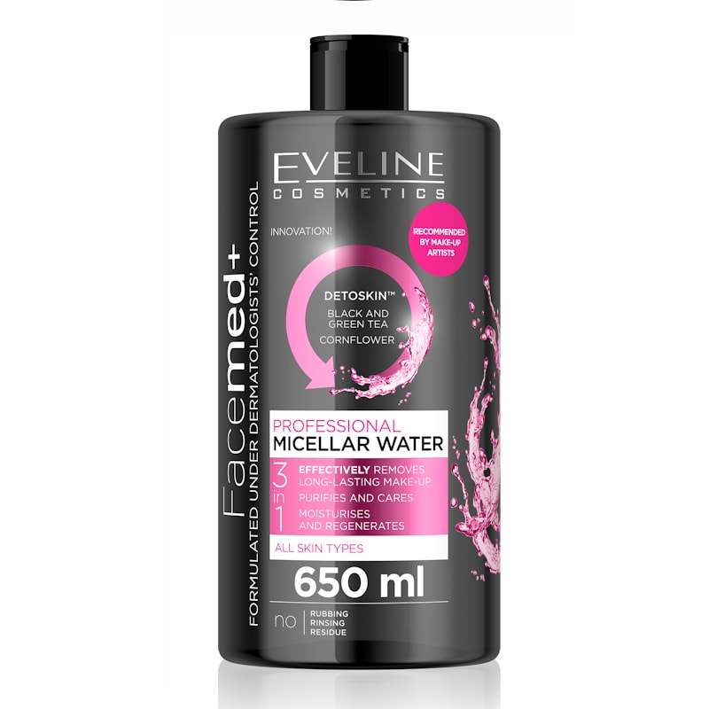 Afbeelding van Eveline Cosmetics Facemed+ Professional Micellar Water 3in1 - 650ml.