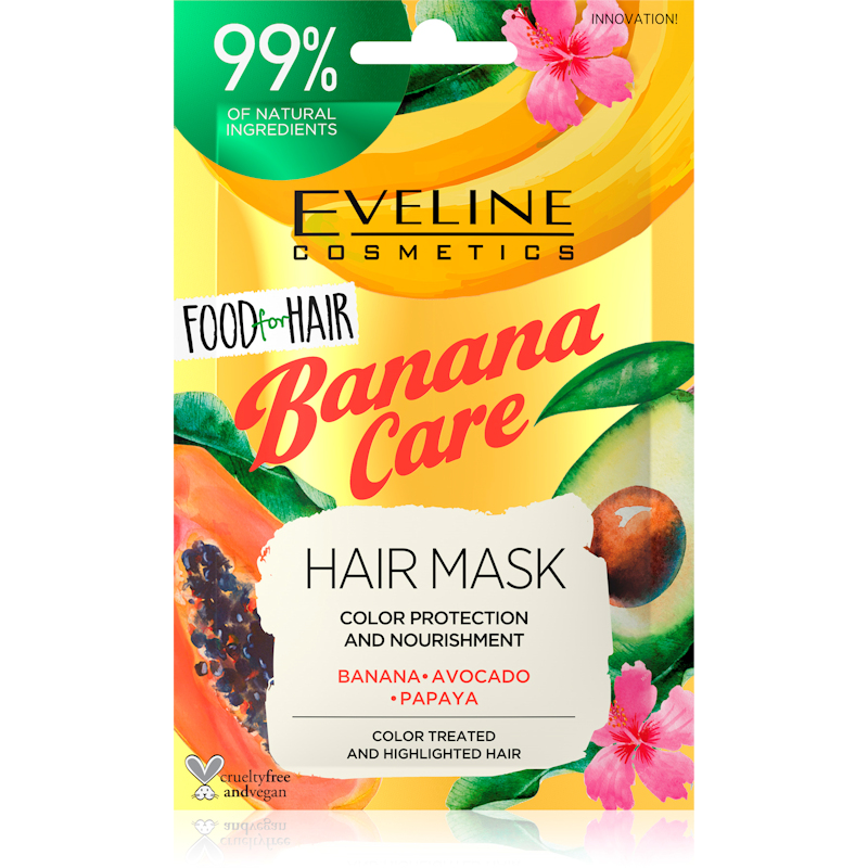 Afbeelding van Eveline Cosmetics Food For Hair Banana Care Hair Mask 20ml.