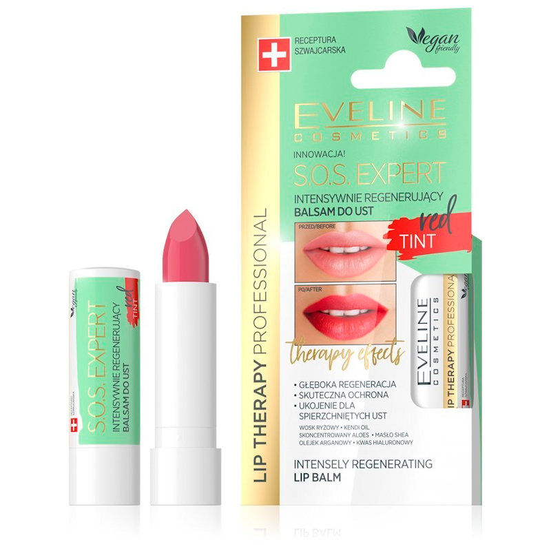 Afbeelding van Eveline Cosmetics Lip Therapy Professional S.O.S. Expert Lip Balm Tint Red