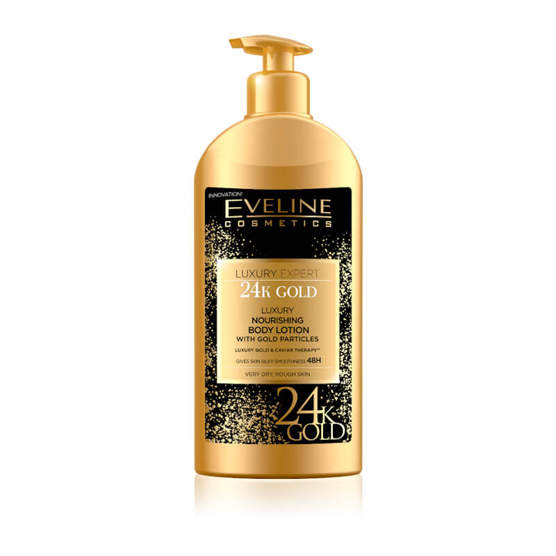 Afbeelding van Eveline Cosmetics Luxury Expert 24k Gold Nourishing Body Lotion With Gold Particles 350ml.